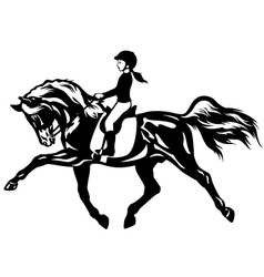 little girl riding horse vector image vector image