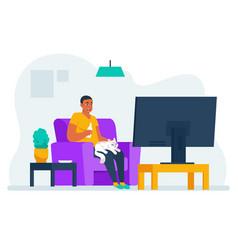 man watching tv cartoon guy sitting on sofa at vector image