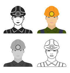 miner icon in cartoon style isolated on white vector image