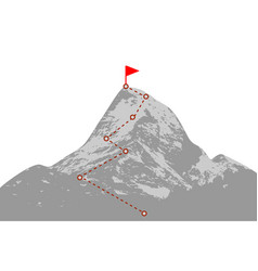 mountain peak with route vector image