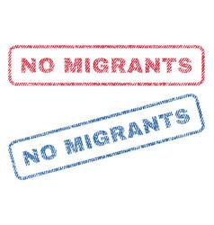 No migrants textile stamps vector