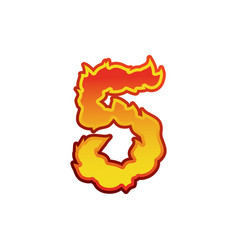 Number 5 fire flames font five tattoo alphabet vector
