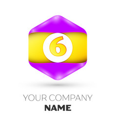 Number six logo symbol in the colorful hexagonal vector