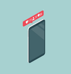 Phone in isometric view many likes comments and vector