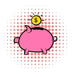 Piggy bank icon comics style vector