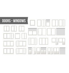 Plastic pvc windows doors set different vector