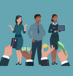 popular specialists hand with money for managers vector image
