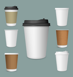 Realistic set paper coffee cups vector