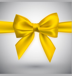 realistic yellow bow element for decoration gifts vector image
