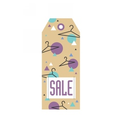 Sale tag with hangers and geometric pattern vector