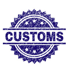 Scratched textured customs stamp seal vector