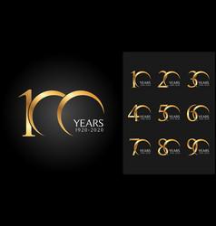set of anniversary badges golden anniversary vector image