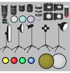 Set of photo studio equipment light soft camera vector image