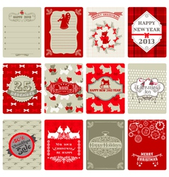 Set of vintage christmas tags vector