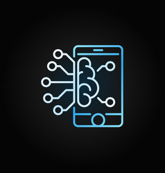 Smartphone with brain colored outline icon vector