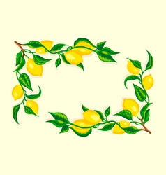 stylized lemon corner frame vector image