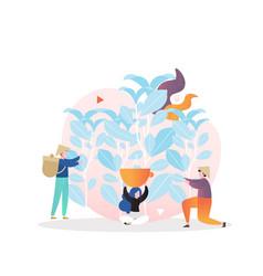 Tea harvesting concept for web banner vector
