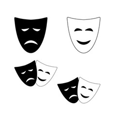 Theatrical masks comedy and tragedy vector