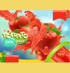 tomato vegetables splash of juice 3d realistic vector image