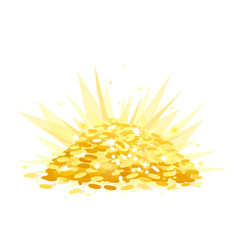 treasure with heap of gold coins vector image