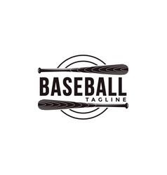 vintage baseball logo with wooden bat icon vector image