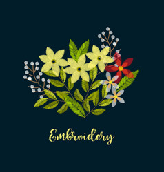 Vintage embroidery flower composition for decor vector