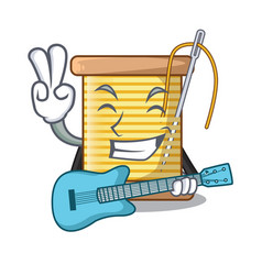 With guitar thread bobbin isolated on a mascot vector
