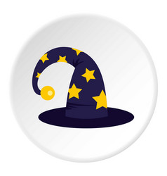 wizard hat icon circle vector image vector image