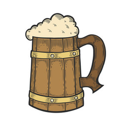 wooden craft beer oktoberfest mug vector image