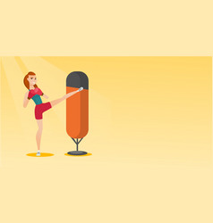 Young caucasian woman exercising with punching bag vector