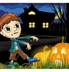 Zombie boy near the haunted house vector image