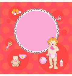 card with birthday girl vector image vector image