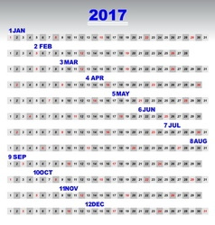 Design 2017 calendar simple template 12 months vector image