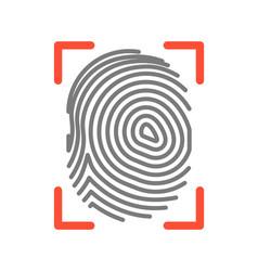 Fingerprint sign isolated on white flat vector