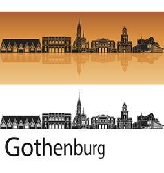 Gothenburg skyline in orange background in vector image