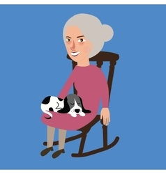 Old lady woman senior with cat sleeping in her lap vector