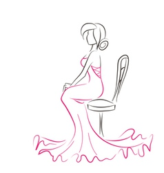 Silhouette of young elegant woman sitting on chair vector image vector image