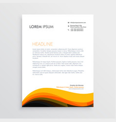 Stylish letterhead design with yellow wave design vector
