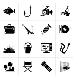 Black Fishing industry icons vector image