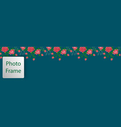 cover for web with floral ornament from pink roses vector image vector image