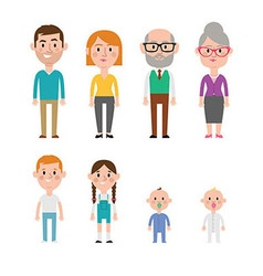 Flat Caucasian Family Members vector image