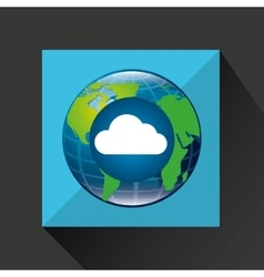 globe world cloud connection service vector image