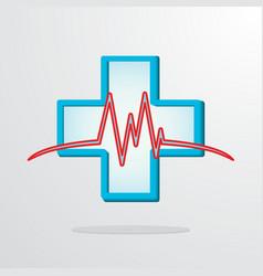 medical cross with heart rhythm vector image vector image