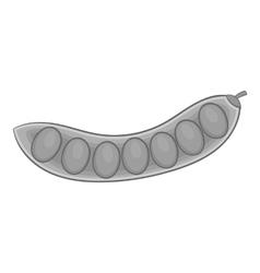 Pea pod icon gray monochrome style vector