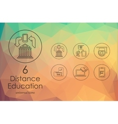 Set of distance learning icons vector