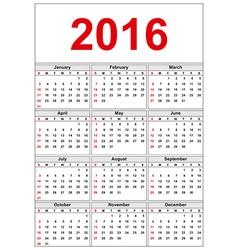 Simple calendar 2016 Week starts on Sunday vector image vector image