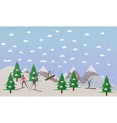 ski track and people skiing vector image vector image