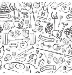 sport and fitness doodle hand drawn seamless vector image