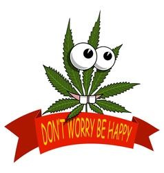 A cartoon marijuana smiling and happy vector image vector image