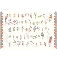 Collection of hand drawn flowers with feathers vector image